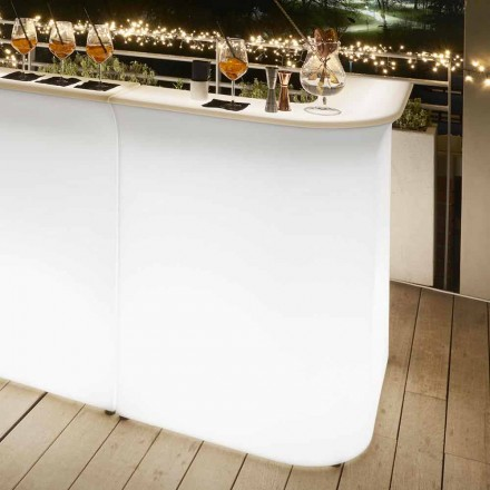 Outdoor bright corner bar counter Slide Break Corner, made in Italy