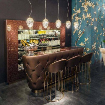 Bar Counter with Glitter Glass Top Made in Italy, Luxury - Calcutta