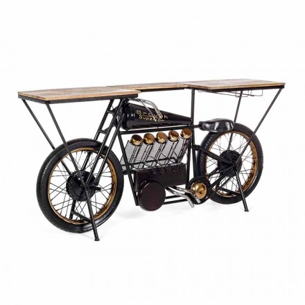 Modern Design Console Bar in Mango Wood and Steel Motorcycle - Shallot