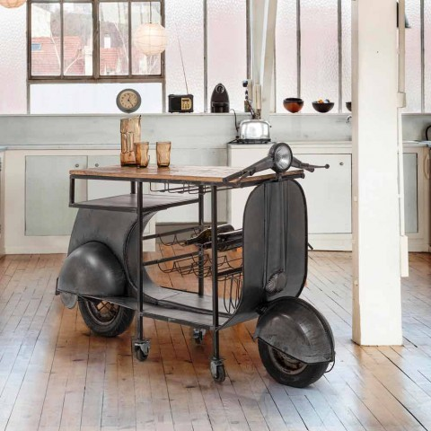 Bar Console in Mango Wood and Vespa in Steel of Modern Design - Shallot