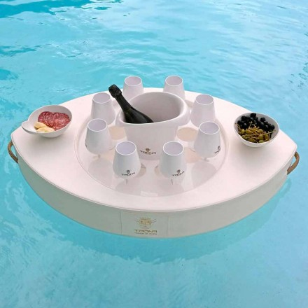 Floating bar made with white marine faux leahter, Trona made in italy