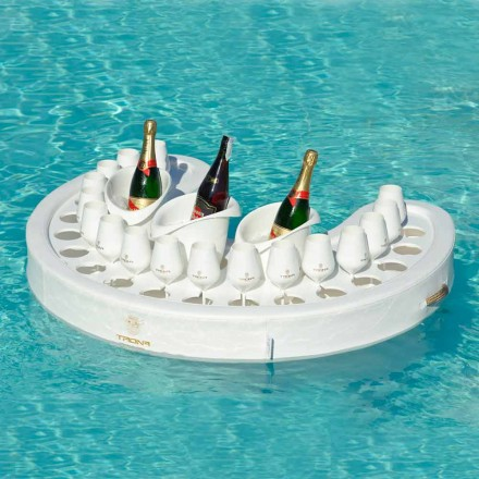 White floating pool bar, modern design, made in Italy by Trona