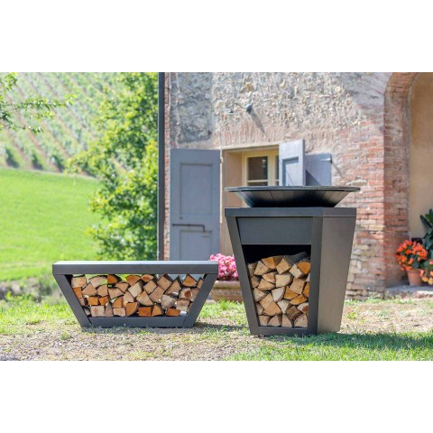 Wood burning barbecue with cooking plate and wood holder compartment - Ferran
