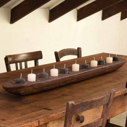Wax Boat with Brown or Ivory Lights Including Made in Italy - Ludvig