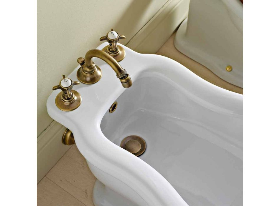 Classic 3-Hole Bidet Battery in Brass and Butterfly Handles - Miriano