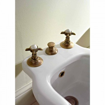 Battery Bidet 3 Holes Internal Delivery Brass and Butterfly Handles - Miriano