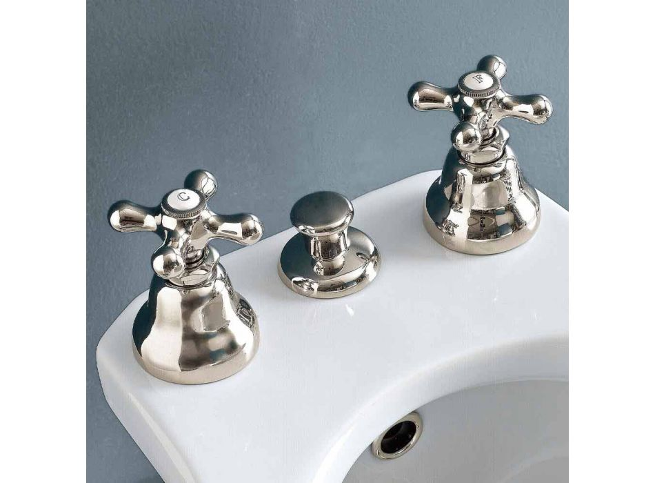 Battery Bidet 3 Holes Drain Internal Delivery Handcrafted Brass - Ercolina