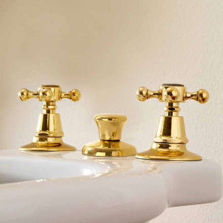 3-Hole Bidet Taps in Brass Made in Italy, Classic Style - Ursula