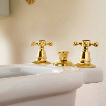 3 Hole Brass Bidet Battery Made in Italy, Classic Style - Ursula