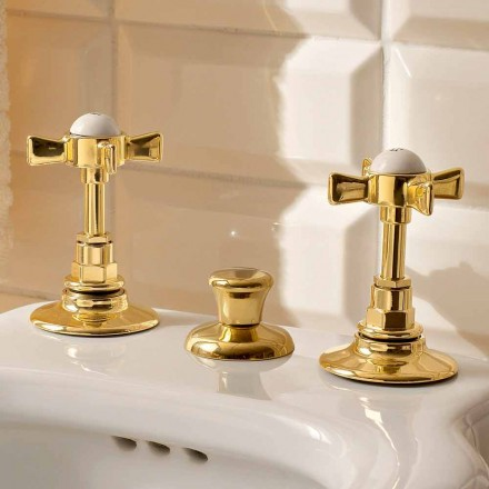 Classic Bidet Taps in Brass with Internal Distribution Made in Italy - Katerina