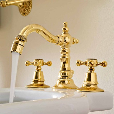 Classic Brass 3-Hole Bidet Taps Made in Italy - Ursula
