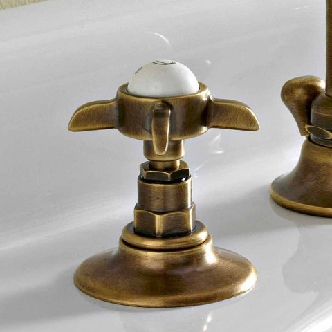 3-hole basin mixer with high spout in brass and butterfly handles - Miriano