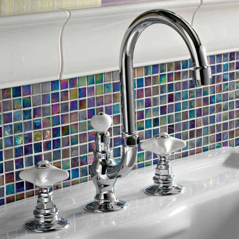 Classic Brass 3 Holes Basin Mixer with High Spout and Ceramic Handles - Ernesta