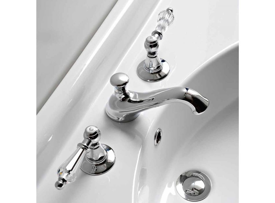 3-hole basin mixer with classic style levers in handcrafted brass - Noriana