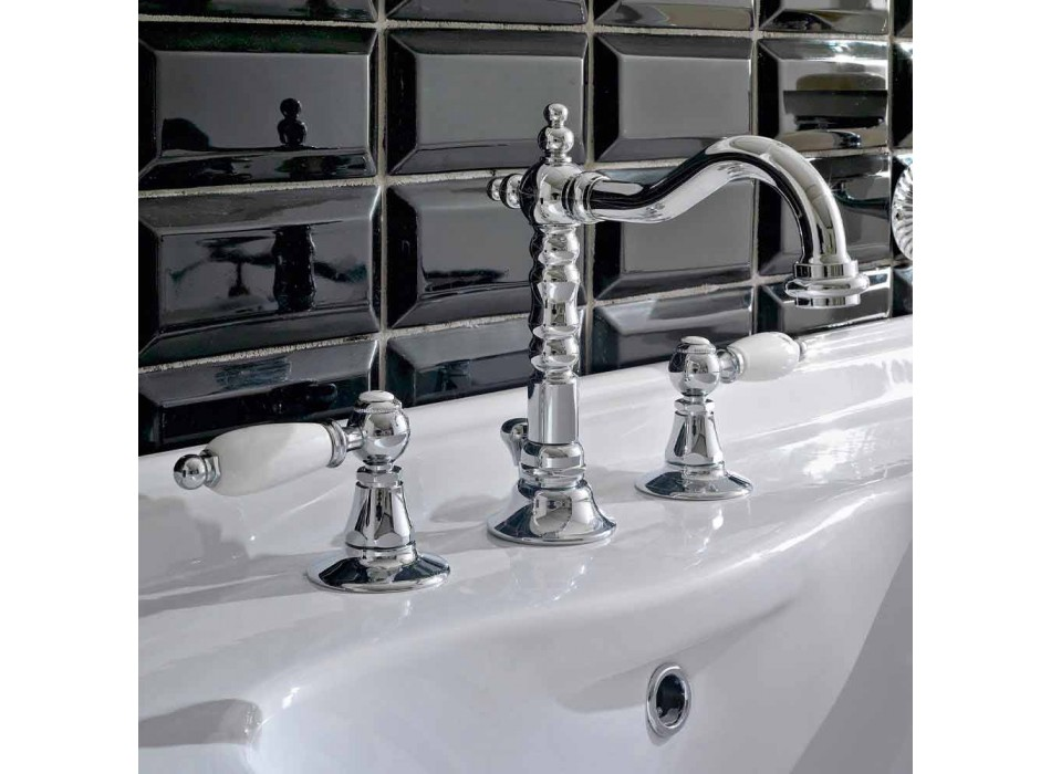 3-hole basin mixer with brass drain in classic artisan style - Noriana