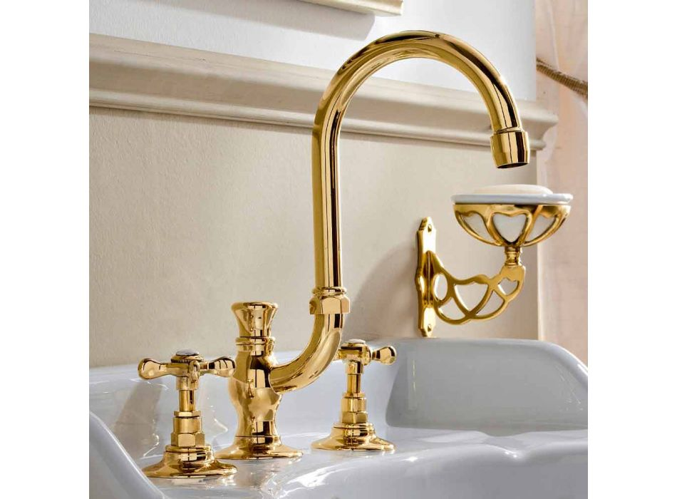 3-hole basin mixer with high spout in Classic Handmade Brass - Fioretta