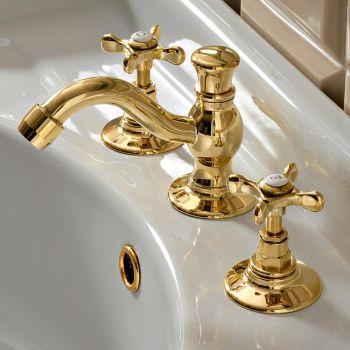 3-hole basin mixer with Classic Handmade Brass Drain - Fioretta
