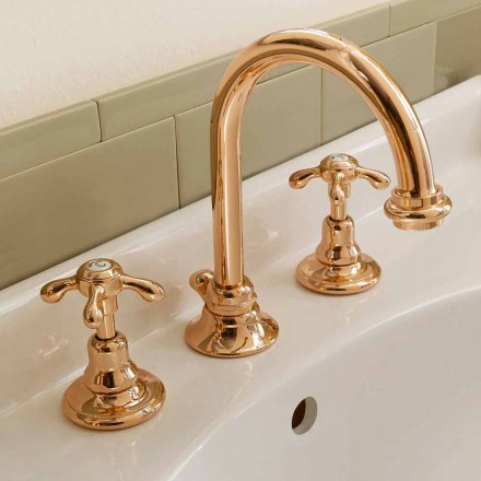 High Classic 3-Hole Brass Basin Mixer Made in Italy - Klarisa