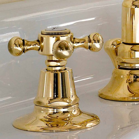 Classic Design 3-Hole Brass Wash Basin Made in Italy - Ursula