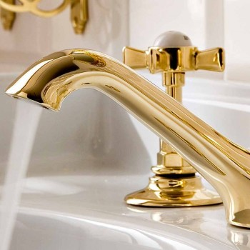 Brass 3 Hole Wash Basin, Classic Style, Made in Italy - Katerina