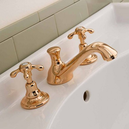Classic 3-Hole Brass Basin Mixer Tap Made in Italy - Klarisa