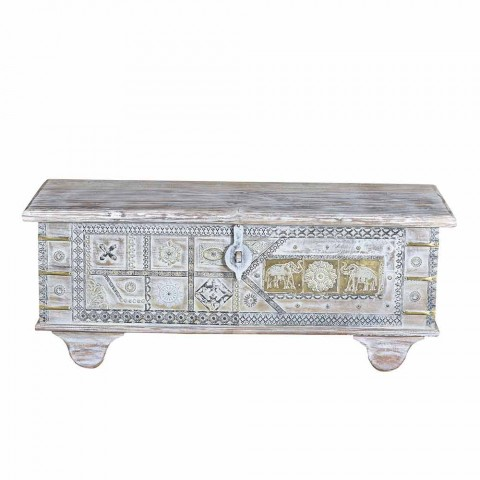 Bleached Mango Wood Storage Trunk with Vintage Style Decorations - Miluna