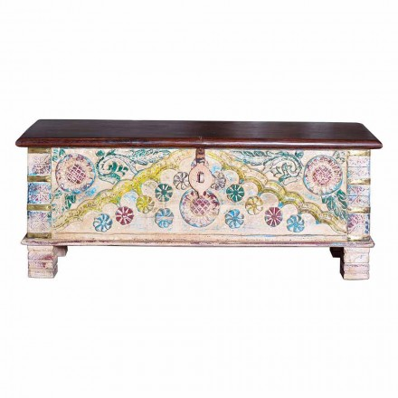 Vintage Style Design Trunk in Colored Bleached Mango Wood - Arturo