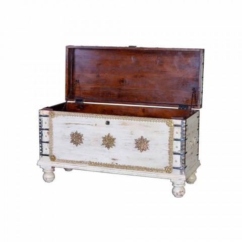 Bleached Mango Wood Trunk with Vintage Style Bronze Details - Timothy