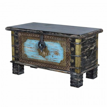 Vintage Style Black and Blue Decorated Mango Wood Trunk - Ferdinando