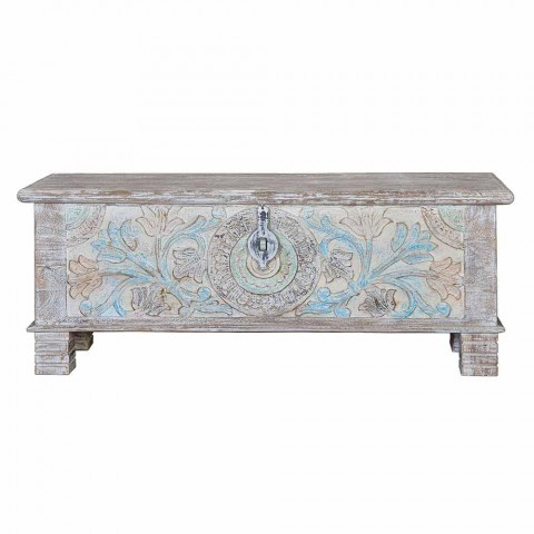 Bleached Mango Wood Chest with Vintage Floral Decoration - William