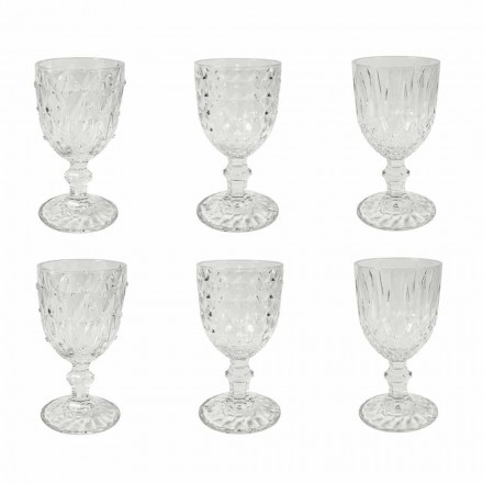 Goblet in Transparent Glass with Relief Decoration 12 Pieces - Angers