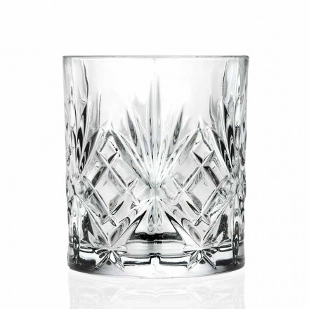 Double Old Fashioned Glass, Vintage Style Eco Crystal 12 Pieces - Cantabile