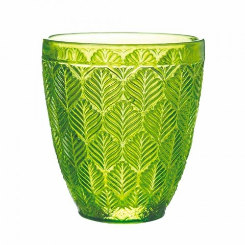 Colored Glass Water Glasses with Leaf Decoration, 12 Pieces - Indonesia