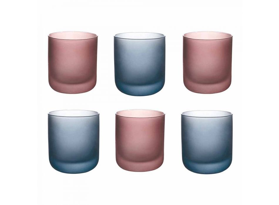 Colored Water Glasses in Frosted Glass with Ice Effect, 12 Pieces - Norvegio