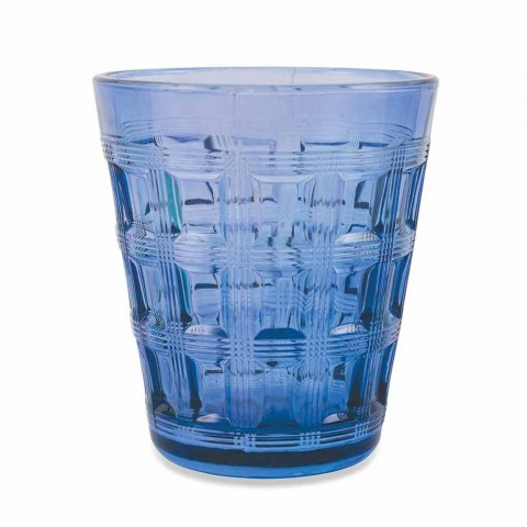 6 Colored Service Colored Glass Water Glasses - Interweaving