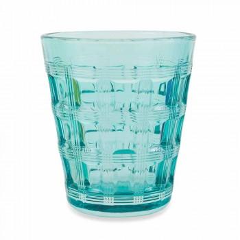 6 Colored Service Colored Glass Water Glasses - Interweaving