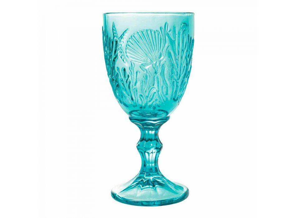 Glasses Wine or Water Colored Glass Marine Decor 12 Pieces - Mazara