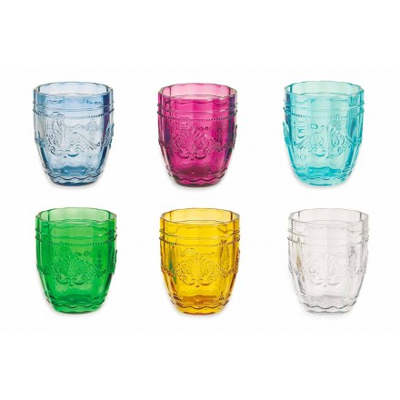 Colored and Elegant Glasses in Glass Service of 12 Pieces for Water - Screw