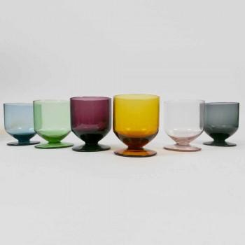 Colored Glasses in Original Design Glass, 12 Pieces Service - Batter