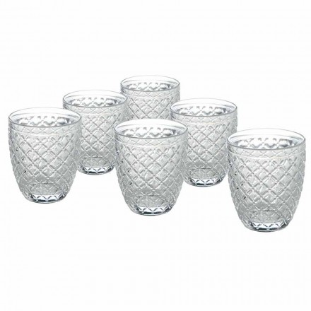 Transparent Glass Water Glasses with Carved Decorations 12 Pieces - Rocca