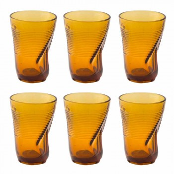 Colored Glass Cocktail Glasses 6 Pieces of Crumpled Design - Sarabi