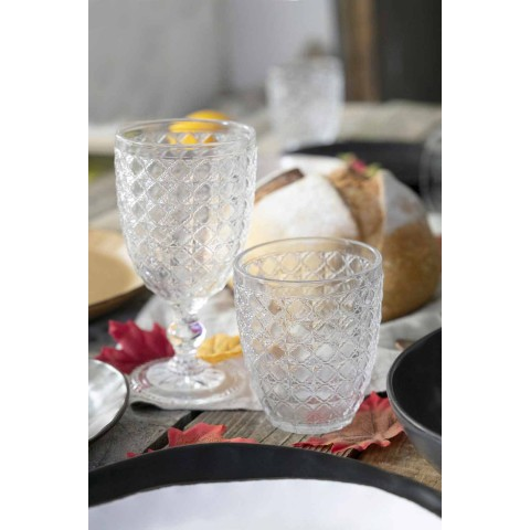 Serving Glasses 12 Pieces in Transparent Glass for Water - Optical