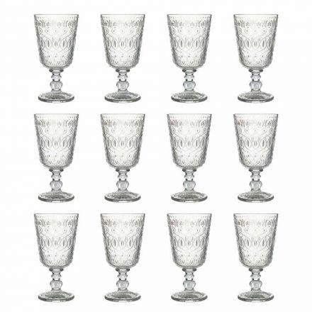 Wine Glasses in Transparent Decorated Glass 12 Design Goblets - Maroccobic