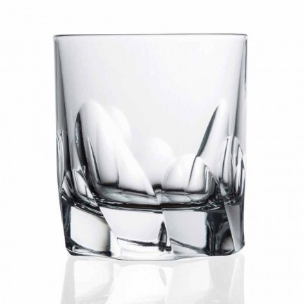 12 Decorated Crystal Glass Whiskey or Water Dof Design, Luxury Line - Titanio