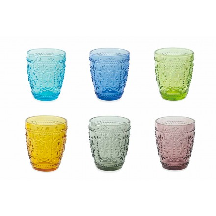Decorated and Colored Glasses Water Set 12 Pieces - Pastel-Palazzo