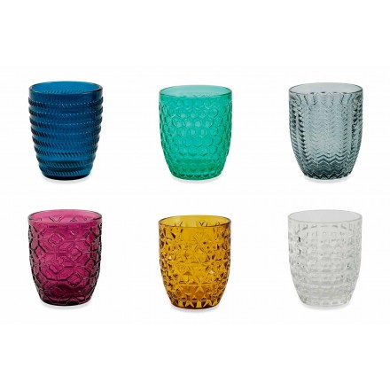 Modern Colored Glass Decorated Glasses Serving Water 12 Pieces - Mix