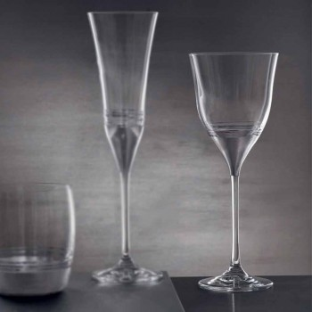 Crystal Glasses Water Goblet in Gold Bronze or Platinum 12 Pieces - Soffio