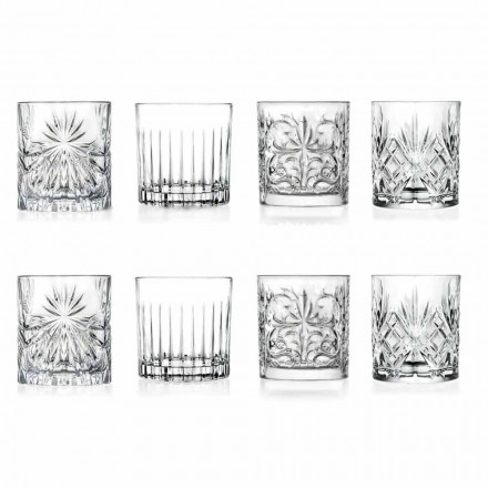 Luxury Double Old Fashioned Tumbler Glasses 8 Assorted Pieces - Malgioglio