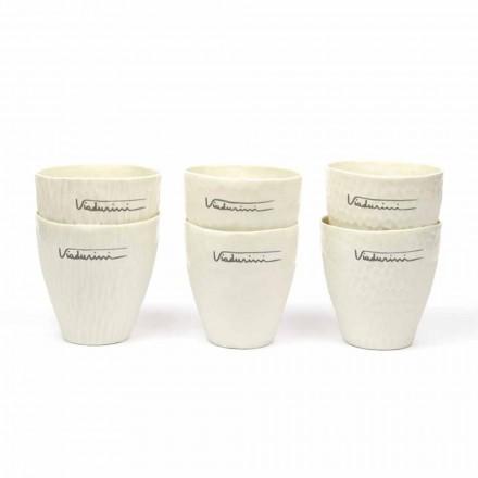 Luxury Design White Porcelain Glasses 6 Unique Pieces - Arcireale
