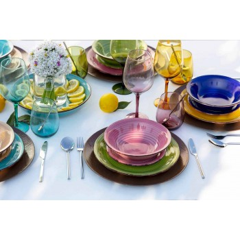 Colored Glass Tumblers for Water Modern Service of 12 Pieces - Aperi